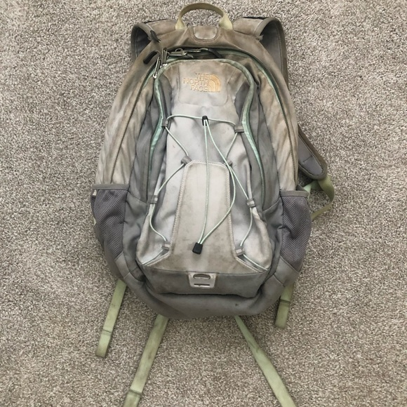 Gray &blue North Face backpack. Fair condition.